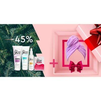 HAIR JAZZ Lotion & šampon + Kondicionér s kyselinou hyaluronovou + vitaminy  + dárek Ručník na vlasy Hair Jazz Super Towel